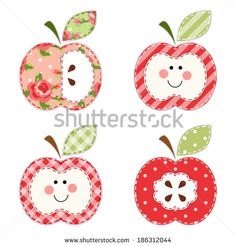 Cute apples with seeds or as a character as retro fabric applique - stock vector Retro Fabric, Food Illustrations, Travelers Notebook, Vintage Cards, Machine Embroidery, Decoupage, Stencils, Patches, Paper Crafts