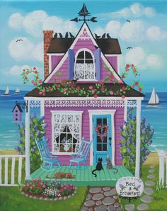 Lilas y encaje Bed and Breakfast Folk Art Print por KimsCottageArt, $12.95