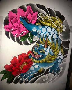 Japanese Tattoo Art, Japanese Tattoo Designs, Foo Dog Tattoo Design, Japanese Background, Fu Dog, Japan Tattoo, Chest Tattoo, Geisha, Tribal Tattoos