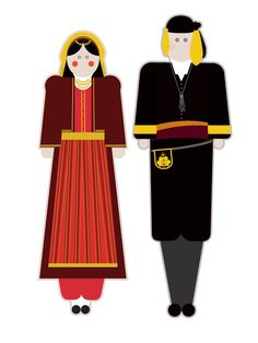 illustrations based on the traditional garments of Greece.Goal of the project is to present each regional costume in a modern way using basic shapes but close to the originals forms, colors and patterns. Folk Dance, Basic Shapes, Greece, Disney Characters, Fictional Characters, Aurora Sleeping Beauty, Costumes, Traditional, History