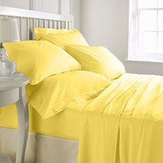 SHEET SET Luxurious Super Percale 800 Thread Count Egyptian Cotton 4 Piece Sheet Set 15 inch drop Yellow Cal King By Kotton Culture Solid 1 Fitted Sheet 1 Flat Sheet 2 Pillow Cases * Read more reviews of the product by visiting the link on the image.Note:It is affiliate link to Amazon.