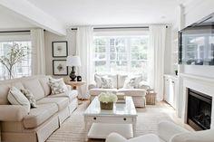 love this white linen living room.