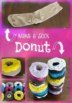 Adorable pretend donuts made from socks! A quick and easy craft that doubles as a cute decoration or a fun toy for kids.