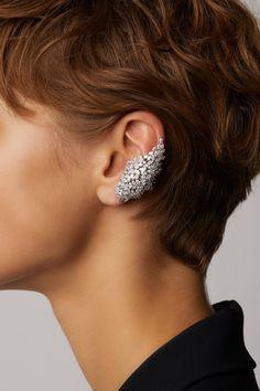 White Gold Wide Diamond Ear Cuffs by Yeprem - Gold Jewelry Ear Jewelry, Body Jewelry, Fine Jewelry, Jewelry Necklaces, Gold Bracelets, Skull Jewelry, Hippie Jewelry, Jewelry Stand, Jewelry Accessories