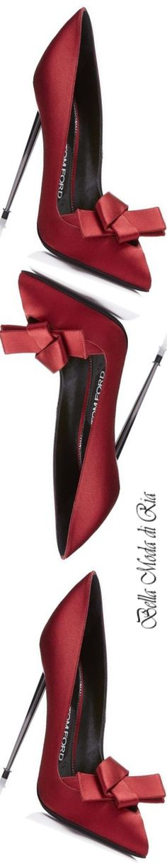 Tom Ford Origami Red Satin Pump With Metel Heel