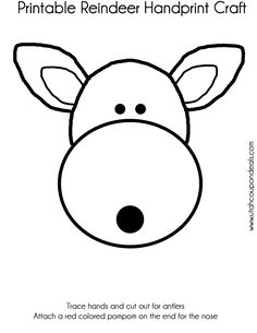 FREE #Printable Reindeer Face #Craft (Use Handprints for the Antlers)