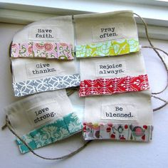 Shabbiest of Chic DIY Positive Thoughts Prayer Flag / Bunting Inspiration Using Vintage Fabrics * Beautiful Simplicity! Fabric Bunting, Bunting Garland, Garlands, Fabric Banners, Bunting Flags, Drapery Fabric, Christian Flag, Sewing Crafts, Sewing Projects