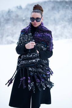 Purple Mohair Large Knit Scarf, Scarf with Fringe, Long Multicolored Purple Wool Scarf, Handmade Oversized Scarf - CK0807CKW by EUGfashion on Etsy