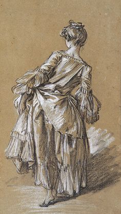 François Boucher - Standing Woman Seen from Behind, c. 1742. Black, red, and white chalk, with stumping, on gray-brown paper.
