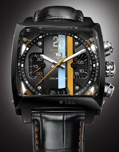 """Tag Heuer Monaco 24 is one of the truly unique and modern motor-racing-inspired designs. This chronograph watch brings the spirit of """"Le Mans"""" on your wrist and impresses our senses with an orange and blue color combo over a dynamic black dial. As a tribute to """"Le Mans""""- the world's oldest active sports car race in endurance racing- there is an oversized """"24″ marker at 12 o'clock. This is a very nice touch that completes the modern look of the beautiful Tag Heuer Monaco 24."""