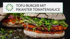 Selbst gemachte Dinkel-Burger-Brötchen mit einem Burger-Patty aus Räuchertofu und getoppt mit roten Zwiebeln, Gewürzgurken, Kresse und einer pikanten Tomatensauce. Köstlicher und gesunder Burger-Genuss! Schnell nachmachen! #rezept #vegan #tofu #burgers Tofu Burger, Baked Potato, Green Beans, Potatoes, Baking, Vegetables, Ethnic Recipes, Fitness, Food