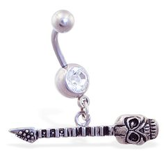 Jeweled navel ring with dangling skull guitar