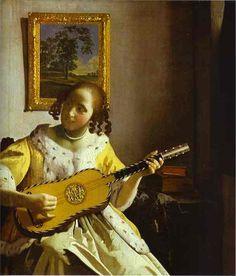 """Love his art - Jan Vermeer - The Guitar Player -  """"El Guitarrista"""" es un óleo sobre lienzo de pintura terminada en 1672 por el pintor holandés Johannes Vermeer. Esta pintura se encuentra en el Kenwood House, Londres"""