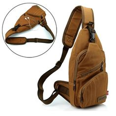 Men 16 ann Cotton Canvas Outdoor Cycling Sport Multi Pockets Chest Crossbody Bag is worth buying - NewChic Mobile.