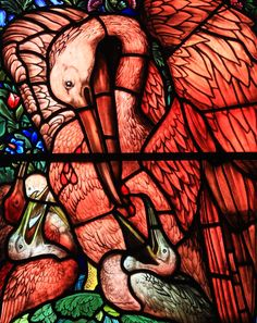 Stunning detail of the pelican Edward Burne Jones, St Martin's Church in Brampton