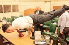 Last week, yoga teacher David Gellineau shared this photo of Canadian Prime Minister Justin Trudeau in the yoga pose Mayurasana, or peacock pose.