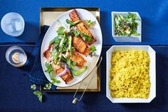 Matt Moran brings a lighter, fresher spin on classic Indian flavours. Salmon Recipes, Seafood Recipes, Indian Food Recipes, Ethnic Recipes, Raw Salmon, Salmon And Rice, Delicious Magazine Recipes, Delicious Recipes, Tandoori Paste