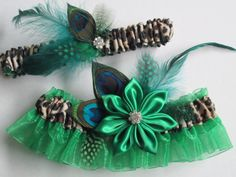 New Wedding Garters Teal Black Wedding Garter St Patrick/'s Day Prom