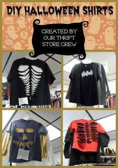 our volunteer workers at the centers thrift store created these easy and fun halloween shirts