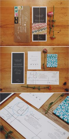Creative and eclectic wedding stationary and invitations. I love the mix of different media, textures, and print. Handmade by the couples' family! Unique Invitations, Invitation Card Design, Invitation Cards, Wedding Invitations, Invitation Ideas, Alternative Wedding Stationery, Wedding Stationary, Wedding Paper, Diy Wedding