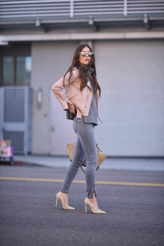 jackets don't only look good in classic black! A blush pink jacket like this one worn by Paola Alberdi will look a treat paired with skinny jeans and a simple grey knit sweater to create the ultimate spring style! Jacket: All Saints, Sweater: Barney's New York, Jeans: Shoptiques.