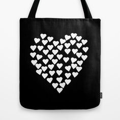 Hearts+on+Heart+White+on+Black+Tote+Bag+by+Project+M+-+$22.00
