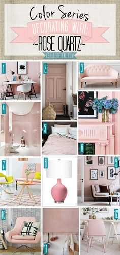 Color Series; Decorating with Rose Quartz, pale pink, light pink, blush home décor. Pantone color of the year 2016 | A Shade Of Teal
