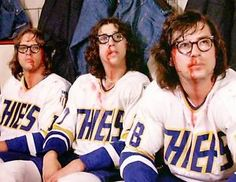 Paul Newman and the Hanson brothers teach us everything you ever needed to know about hockey. It is not always about being the most skilled player but entertainment is everything. Funny Comedy Movies, Funniest Movies, Hanson Brothers, Slap Shot, Sport Icon, Ice Hockey, Hockey Baby, Bruins Hockey, Hockey Goalie