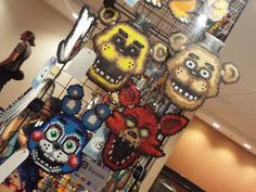 ( Hurricon 2015 ) Five Nights at Freddy's Perlers by KrazyKari  Fnaf hama / perler bead toy bonnie foxy freddy and golden freddy