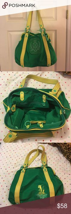 "Green nylon Juicy Couture shoulder handbag purse. Green nylon Juicy Couture shoulder bag. In great condition. Measures 18"" by 12"". From a smoke free home. Check my closet for other great items to bundle and save 15%!! Juicy Couture Bags Shoulder Bags"