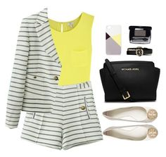 Stripe. Short. Suit. by sweetpastelady on Polyvore featuring Joie, Tory Burch, MICHAEL Michael Kors, Marc by Marc Jacobs, BlissfulCASE, WorkWear, neon, summeroutfit and shortsuit
