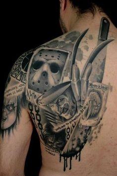Horror Tattoo Designs For Men Horror Movie Tattoos, Scary Tattoos, Wicked Tattoos, Love Tattoos, Beautiful Tattoos, Body Art Tattoos, Tattoos For Guys, Horror Movies, Geek Tattoos