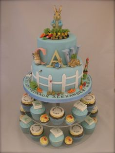 Little Cakes Peter Rabbit cake with matching cupcakes - by LittleCakesUK @ CakesDecor.com - cake decorating website