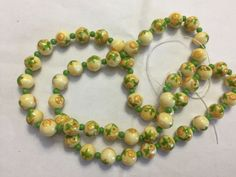 Vintage Japan Buttercup Yellow Orange Flower Decal Round Glass Bead Strand Lot #beads