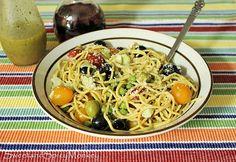 Mediterranean Pasta Salad. Recipe here ~ http://sweetandspicymonkey.blogspot.com/2015/06/mediterranean-pasta-salad.html
