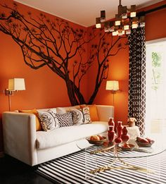Brown and orange Living Room Design. Brown and orange Living Room Design. orange Walls with Brown & Tan Furniture & Hardwood Floors Orange Walls, Orange Rugs, Orange Sofa, Orange Bedroom Walls, Orange Pillows, Blue Walls, Living Room Paint, Living Room Decor, Living Rooms