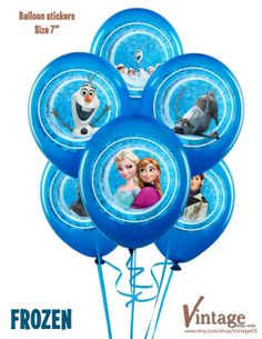 Disney Frozen Birthday Party Circles / Balloon Stickers 7 inch digital file girl boy Printable DIY Olaf Sven Anna Elsa Hans Kristoff on Etsy, $6.99