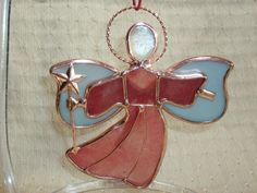 RED GLASS ANGEL with COPPER STAR Ornament - Beautiful Item!