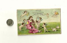 Lovely antique Victorian Trade Card-for a hair tonic.Presumably, one would be attended, like Venus, by cupids & surrounded by gamboling bunnies, an ancient symbol of fertility, if one used this product! Modern marketers  of women's products could take lessons in basic manners from these early,& really rather savvy advertisers.Their techniques beat by light years the insulting standard  modern Madison Avenue techniques directed at women for the last few generations! Apparently, we all smell…