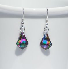 Swarovski crystal electra and sterling silver earrings by ParkhillDesigns on Etsy