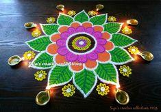 latest simple rangoli designs | HappyShappy - India's Best Ideas, Products & Horoscopes Best Rangoli Design, Free Hand Rangoli Design, Rangoli Ideas, Colorful Rangoli Designs, Rangoli Designs Diwali, Diwali Rangoli, Rangoli Designs Images, Beautiful Rangoli Designs, Rangoli Colours