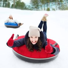 Slippery Racer Grande XL Commercial Snow Tubes are used in resorts and winter fun parks across the USA. /Fancy.