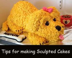 Cute puppy cake tips~ Also- Great Decorating Tips for making sculpted cakes Fancy Cakes, Cute Cakes, Yummy Cakes, Cake Decorating Techniques, Cake Decorating Tutorials, Unique Cakes, Creative Cakes, Dog Cakes, Cupcake Cakes