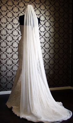 Pure Silk Tulle Cathedral Veil with Raw Cut Edge and Soft Smooth Silk Tulle Bridal Veil