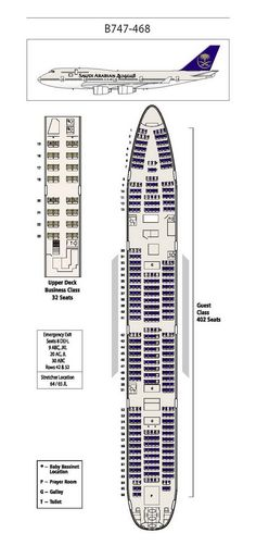 SAUDI ARABIAN AIRLINES BOEING 747-400 AIRCRAFT SEATING CHART