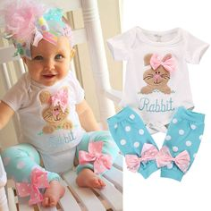 Ropa Bebes Baby Tops Rompers Rabbit Embroidered Baby Girls Boutique Outfits 2pcs Girl Romper+Leg Warmer Clothes Outfit Set