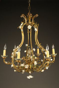 Wonderful antique 6 arm Italian iron and porcelain chandelier with vines, circa 1900. #antique #chandelier #iron