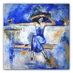 Erwartung - Frauen Gemälde, Künstler Bild modern und Figürlich www.burgstallers-art.de/online-shop