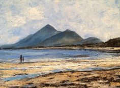 A view of the west of Ireland mountain Croagh Patrick, from Old Head beach near Louisburgh, co. Old Head, Irish Art, Connemara, Watercolor Paintings, Watercolour, Holiday Fun, Ireland, Rocks, Waves
