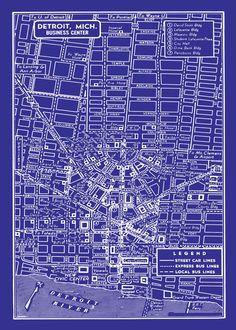 1949 Vintage Map of Detroit Michigan 20x30 Blueprint Map Print Poster